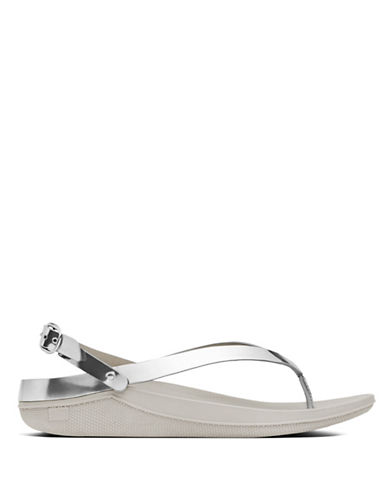 Fitflop Flip Leather Back-Strap Sandals-SILVER-7