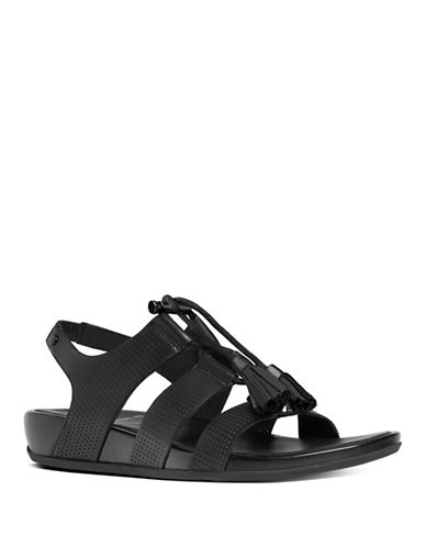 Fitflop Gladdie Perforated Leather Lace-Up Gladiator Sandals-BLACK-7