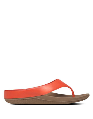 Fitflop Ringer Leather Thong Sandals-RED-7