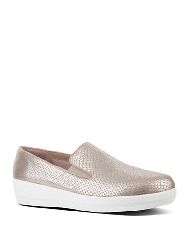 Fitflop Superskate Metallic Slip-On Loafers-SILVER-7