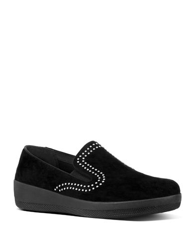 Fitflop Superskate Studded Suede Loafers-BLACK-6.5