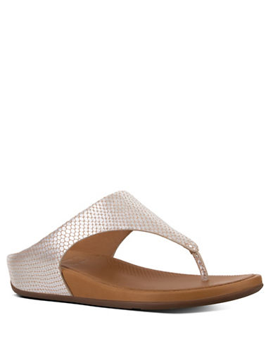 Fitflop Banda Snake-Embossed Leather Thong Sandals-SILVER-8
