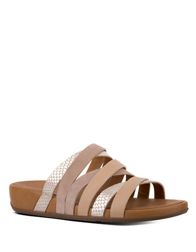 Fitflop Lumy Leather Slide Sandals-PEACH-8