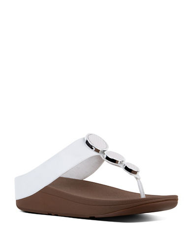 Fitflop Halo Leather Toe-Thong Sandals-WHITE-11