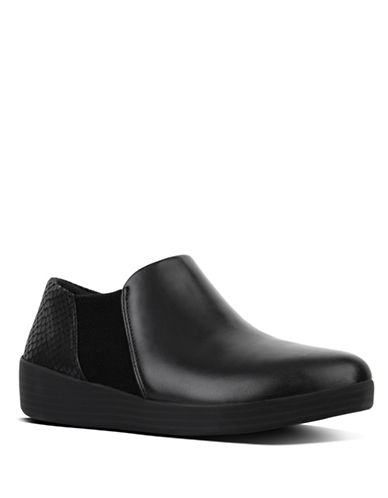 Fitflop Round Toe Leather Chelsea Boots-BLACK-9