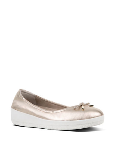 Fitflop Superbendy Leather Flats-GOLD-7