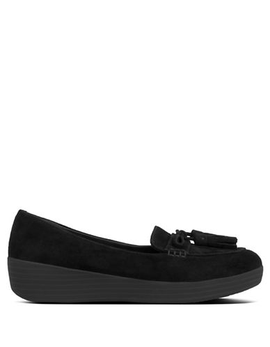 Fitflop Round Toe Suede Loafers-BLACK-9