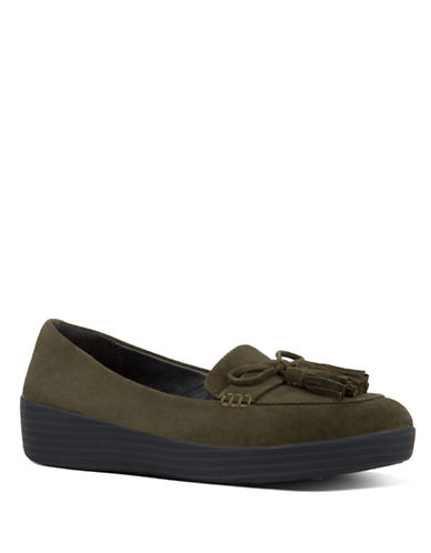 Fitflop Round Toe Suede Loafers-GREEN-5