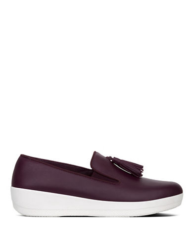 Fitflop Tassel Leather Loafers-PURPLE-5