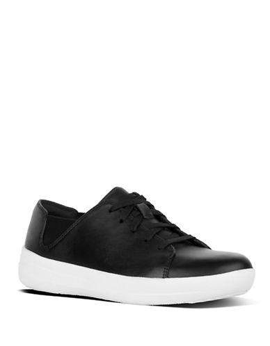 Fitflop Womens F-Sporty Leather Sneakers-BLACK-5