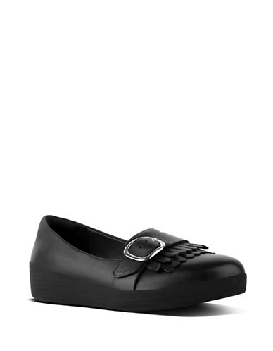 Fitflop Buckle Leather Sneaker Loafers-BLACK-5
