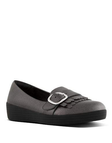 Fitflop Buckle Leather Sneaker Loafers-PEWTER-9