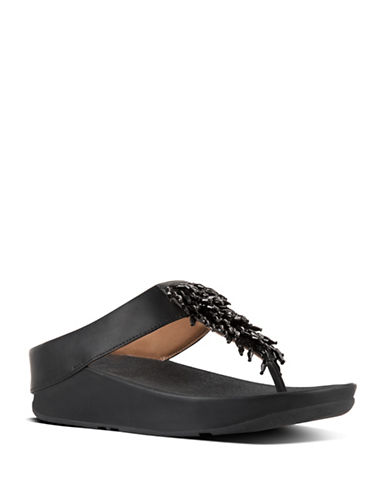 Fitflop Rumba Crystal-Embellished Leather Thong Sandals-BLACK-11