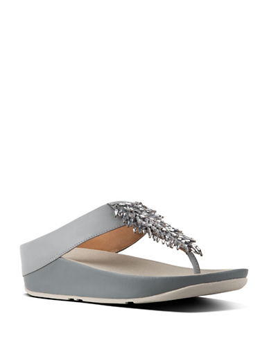 Fitflop Rumba Crystal-Embellished Leather Thong Sandals-DOVE BLUE-11
