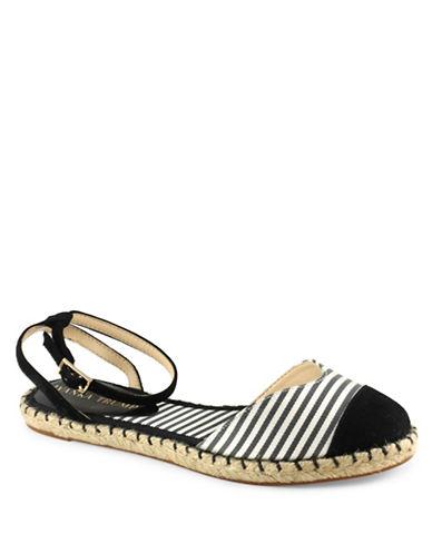 Ivanka Trump Rion Nautical Flat Sandals-BLACK/WHITE-6.5