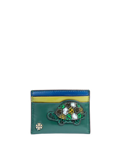 Tory Burch Turtle Patch Card Case-GREEN-One Size