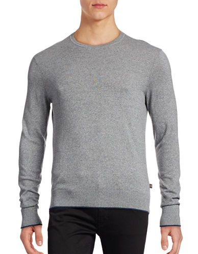 Michael Kors Marled Crew Neck Sweater-GREY-Small