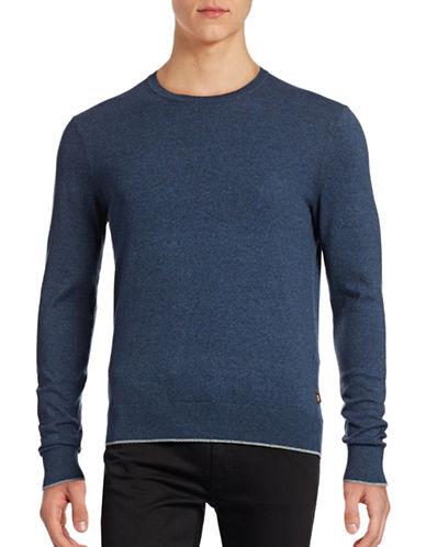 Michael Kors Marled Crew Neck Sweater-BLUE-X-Large
