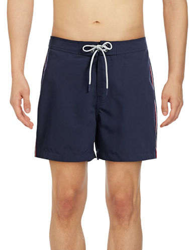 Michael Kors Striped Board Shorts-BLUE-Large 88874170_BLUE_Large