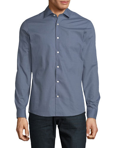 Michael Kors Slim-Fit Raden Cotton Sport Shirt-BLUE-Medium