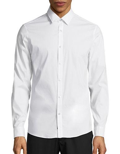 Michael Kors Stretch Slim Fit Sport Shirt-WHITE-Small