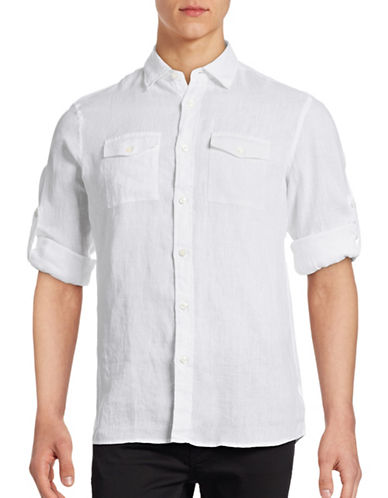 Michael Kors Tailored Fit Roll Sleeve Linen Sport Shirt-WHITE-Medium