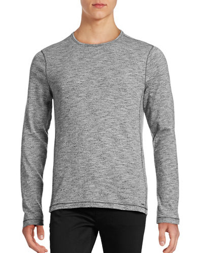 Michael Kors Heathered Crew Neck Shirt-BLACK-Medium