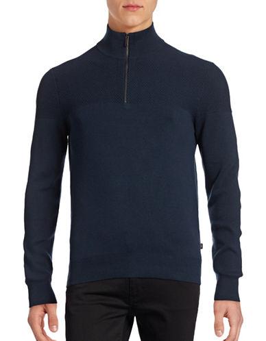 Michael Kors Honeycomb Mock Neck Sweater-BLUE-Medium