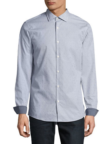 Michael Kors Slim-Fit Carlyle Dobby Shirt-BLUE-X-Large