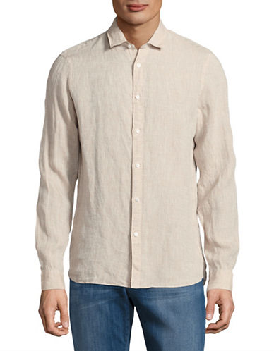 Michael Kors Slim-Fit Yarn-Dyed Linen Shirt-BEIGE-Small