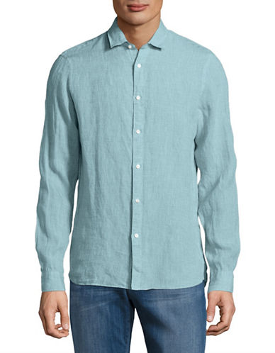 Michael Kors Slim-Fit Yarn-Dyed Linen Shirt-BLUE-X-Large