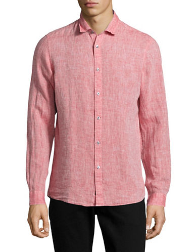 Michael Kors Slim-Fit Yarn-Dyed Linen Shirt-RED-Small