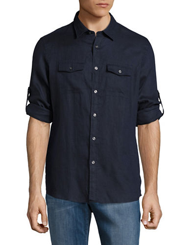 Michael Kors Roll Up Linen Sport Shirt-BLUE-Large