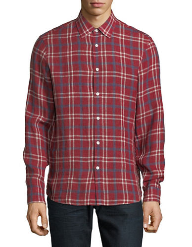 Michael Kors Classic-Fit Plaid Linen Shirt-RED-Medium