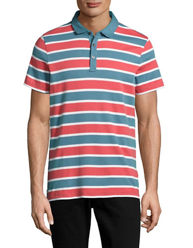 Michael Kors Towel Stripe Polo-RED-Medium