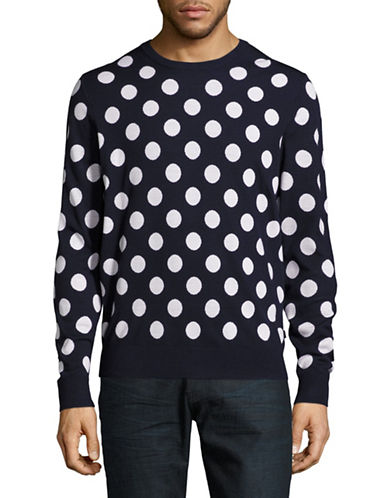 Michael Kors Big Dot Merino Wool Sweater-BLUE-X-Large