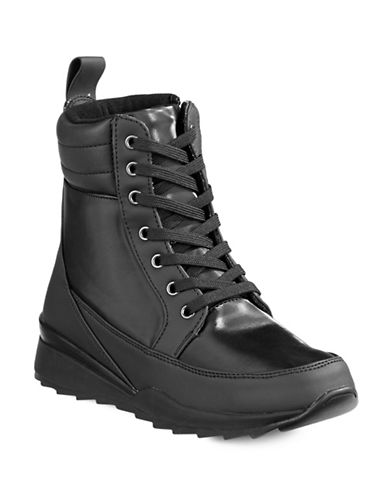 Blondo Slide Nylon Lace-Up Boots-BLACK-9