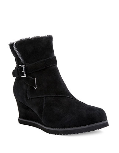 Blondo Vara Wedge Heel Suede Booties-BLACK-9