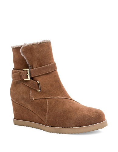 Blondo Vara Wedge Heel Suede Booties-BROWN-6