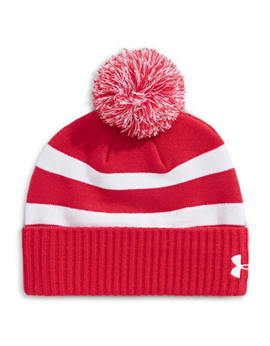 Under Armour Pom-Pom Striped Beanie-RED-One Size