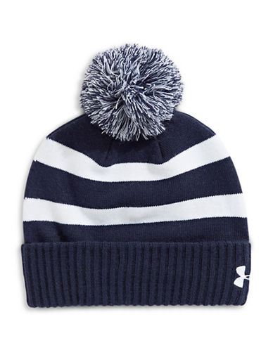Under Armour Striped Pom-Pom Beanie-BLUE-One Size