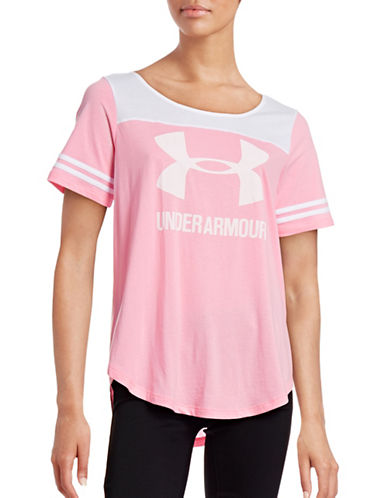 Under Armour Logo Baseball Tee-PINK-Medium 88511690_PINK_Medium