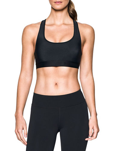 Under Armour Medium-Impact Crossback Embossed Sports Bra-BLACK-X-Large 88967132_BLACK_X-Large