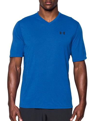 Under Armour UA Threadborne Striped V-Neck T-Shirt-BLUE-X-Large 89163181_BLUE_X-Large