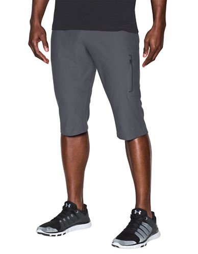 Under Armour Elevated Knit Three-Quarter Shorts-GREY-Large 89055113_GREY_Large