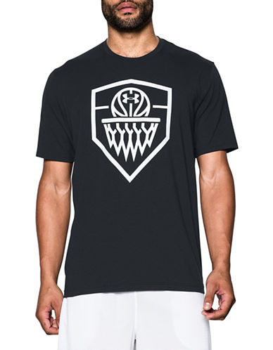 Under Armour Basketball Icon Printed Cotton-Blend Tee-BLACK-Medium 89098936_BLACK_Medium