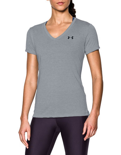 Under Armour Threadborne Twist Training Tee-STEEL-Large