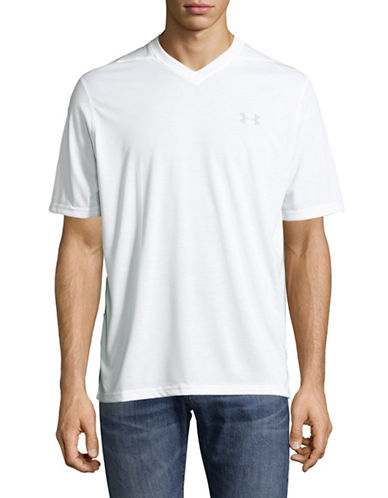 Under Armour Athletic High V-Neck T-Shirt-WHITE-Small