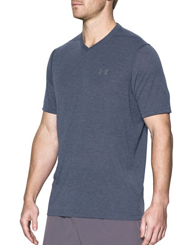 Under Armour Threadborne Siro V-Neck T-Shirt-BLUE-Medium