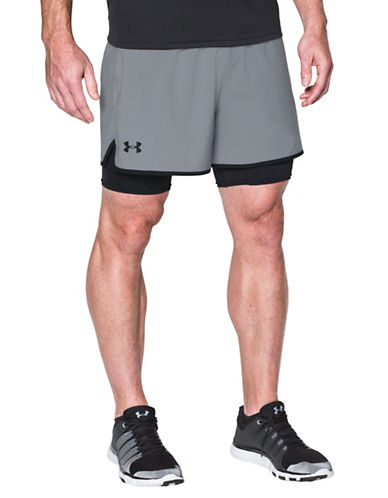 Under Armour Qualifier 2-In-1 Shorts-GREY-X-Large 89099200_GREY_X-Large